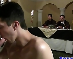 Gay frat interview turns into anal pounding