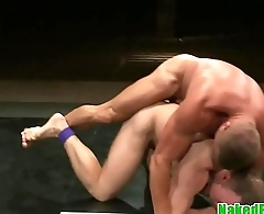 Muscle hunks ripping underwear and wrestling