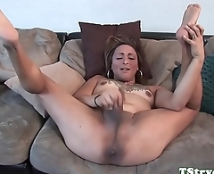 Casting tgirl wanks while fingering herself