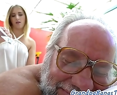 Teen masseuse fucked by lucky grandpa