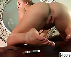 Sexy Nicole makes herself cum all over her desk