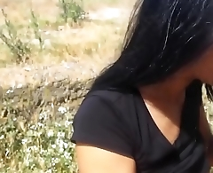 Awesome brunette get fucked doggystyle outdoor