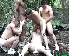 Army hunk group suck and ride cock outside