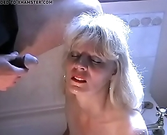 Piss and cum for mature blonde