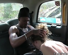 Female taxi driver sucks big black cock