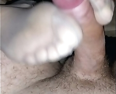homemade footjob with nude pantyhose under leggings and cumshot