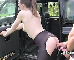 Hottie in red dress sucking in fake taxi