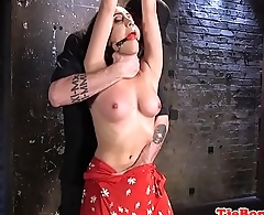 Toyed inked bdsm sub pussy rubbed by maledom