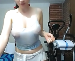 Nice tits white girl wet oil porn show