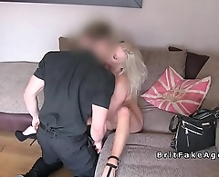 Huge tits blonde fucking in casting