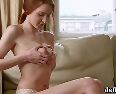 Lovesome girl opens up tight snatch and gets deflorated