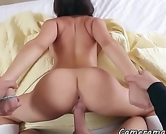 Busty babe fingered and doggystyled in POV