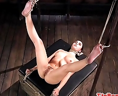 Submissive babe dominated over while tiedup