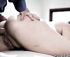 Classy babe fucked in tight ass by stepdad