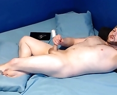 Jerk off with butt plug in, cum on my face, and swallow load