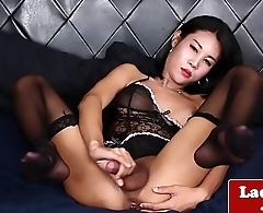 Classy ladyboy wanks off until she spays cum