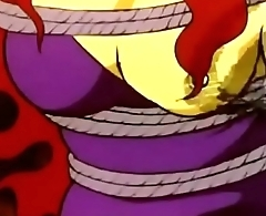 Devilman enjoys hurting yellow girl'_s tits in a bondage style by whipping.