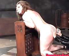 Spanked lesbian sub throated by strapon nun